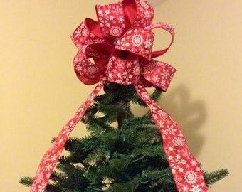 Christmas Tree Topper Bow/ Snowflakes Galore Tree Topper Bow/ Red Snowflake Bow  Tree Topper