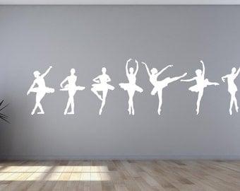 Ballerina Dancers Wall Decal Sticker Set of 8 girls bedroom livingroom ballerina Dancer room wall decal AS@41