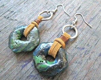 Tribal Fusion Earrings - Rustic Earrings - Bohemian Earrings - Polymer Clay Earrings - Primitive Earrings - Earthy Jewelry - Boho Chic