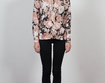 Vintage GOTH GIRL Floral Button-up Blouse