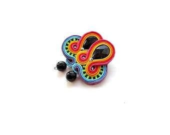 Rainbow Clip On Earrings - Dangle Colorful Earrings , Soutache Earrings , Handmade Rainbow Jewelry , Hand Embroidered Soutache Earrings