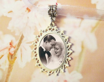Ivory Wedding Bouquet Photo Charm /CUSTOM #22 Memorial Oval Off White Shabby Chic / Keepsake In Memory Of