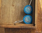 Rustic jewelry -  Drop Earrings - Blue and Ocher - Geometric  jewelry - Silver