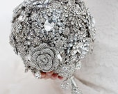 Custom Silver Brooch Bouquet - Crystal Brooch Bouquet, Bridal Bouquet, Wedding Bouquet, Jeweled Bouquet - 8 inch Crystal Bouquet
