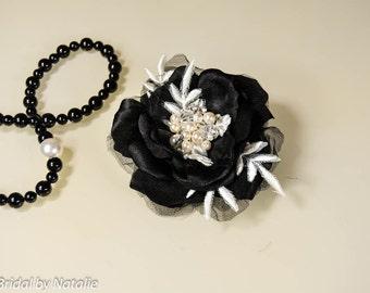 Black Bridal Floral Hair Clip - Black Wedding Hair Clip - Black Flower Headpiece - Black Bridal Hair Piece