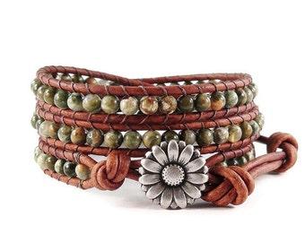 Leather Wrap Bracelet Rhyolite Gemstones Daisy Button Beaded Jewelry