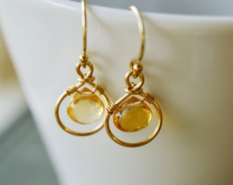 Citrine Drop Earrings, 14k Gold Yellow Gemstone Jewelry - Dainty Friend Girlfriend Bridesmaid Gift - November Birthstone - twoblindmice