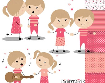 Valentine's Day Boys and Girls, Serenade Clipart, Kiss Clipart, Holding Hands Clipart, Digital Papers, Heart Graphics, Kids Invitations,