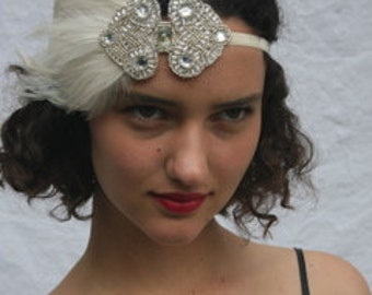 Great Gatsby headband. Ivory wedding headband, silver bridal headband, Ivory feather Art Deco 1920s bridal headpiece, flapper fascinator,