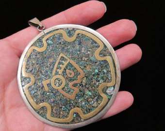 Vintage Mexico Metales Casados Mayan Aztec Warrior Stone Chip Inlay Medallion - Mixed Metals Mexican Jewelry Extra Large Pendant