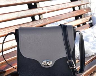 BLACK LEATHER HANDBAG, Leather Messenger Bag, Leather Shoulder Bag, Long Strap Bag, Medium Size Leather Bag, Black-gray Purse