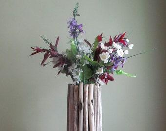Centre de table rectangulaire bois flotté Vase Vase en bois