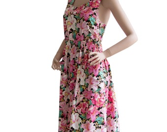 80s Vintage Floral Print Sun Dress Size M | US 8 - 10 | UK 10 - 12