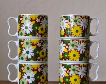 Mid Century Daisy Floral Coffee Cups/Retro Sy Japan Flower Power Coffee Mugs/Set of 6 Stacking Mugs/Wedding Gift