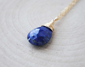 Lapis Necklace in Sterling Silver or 14K Gold Filled, Lapis Lazuli Necklace, Lapis Lazuli Jewelry