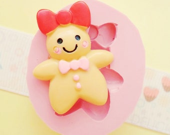 30mm Gingerbread Girl Biscuit Cookie Flexible Silicone Mold - Decoden Kawaii Sweets Resin Fimo Polymer Clay Sculpey Wax Soap Fondant