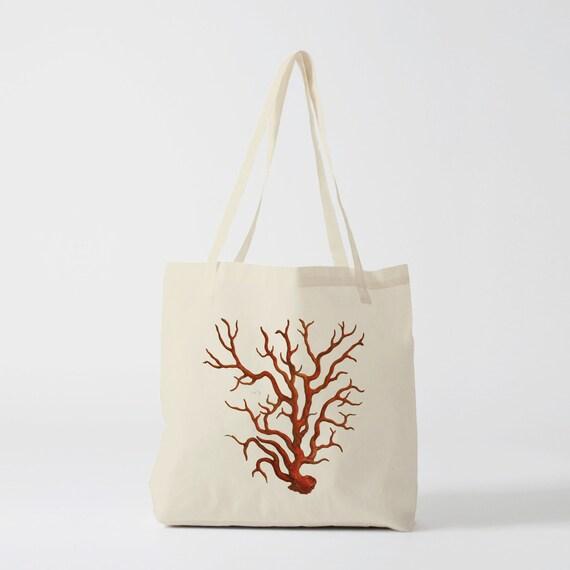 Tote Bag Coral, groceries bag, canvas bag, beach bag, student bag, laptop bag, shopper bag, cotton bag, novelty gift, gift for coworker.