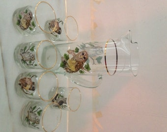 vintage owl pitcher and 6 highball glasses