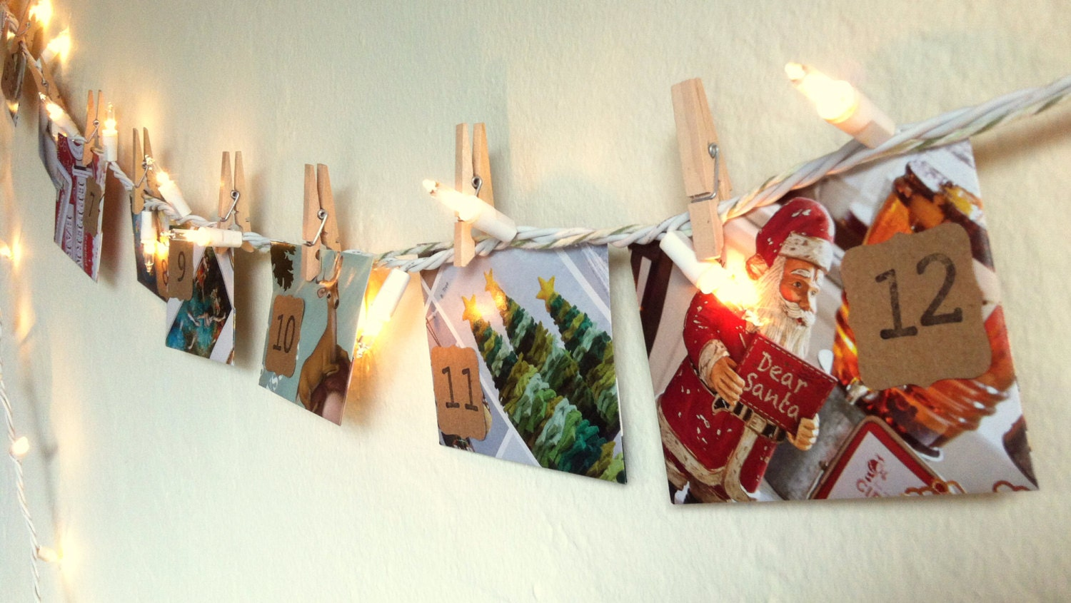 FREE SHIPPING! Christmas Activity Advent 12 Day Calendar – Upcycled Paper Countdown Envelopes