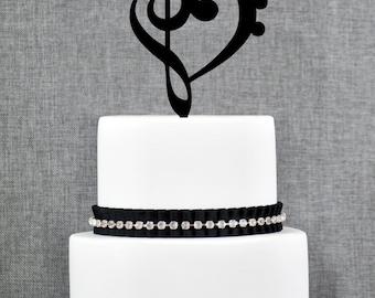 Treble Bass Clef Heart Cake Topper, Music Heart Wedding Cake Topper, Musician Wedding, Custom Colors, Fun Cake Topper, Music Heart (T065)