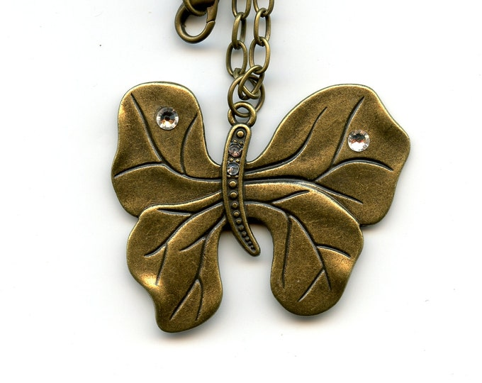JEWELRY-PENDANT-METAL; necklace, Brass Butterfly, Swarovski crystals, 24 inch brass chain, nature, birthday, women, teens