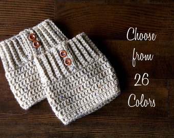 Chunky Boot Cuffs - 26 Colors - Cream/Tan/Oatmeal/Gray/Brown/Wooden Buttons/Leg Warmers/ Women's