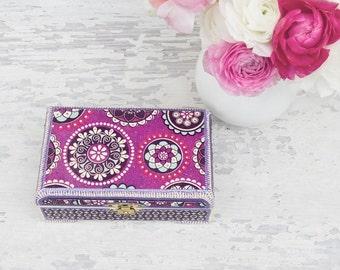 SALE! -20% Purple jewelry box - Wooden box - Decorative box - Decoupaged jewelry box -  Jewelry storage - Birthday gifts