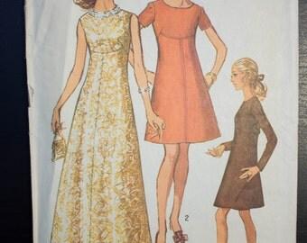 Vintage 1969 Simplicity 8498 Dress Pattern