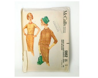 Vintage 1960's Misses' and Junior McCall's Dress Pattern Size 16 Jacket / Skirt / Blouse