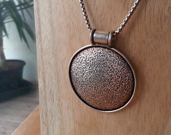 Large focal sterling silver disc pendant – textured*