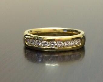 18K Yellow Gold Diamond Engagement Band - 18K Gold Diamond Wedding Ring - Channel Set Diamond Band - Yellow Gold Band - 18K Diamond Ring