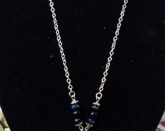 SALE Silver Anatomical Lungs Necklace with Blue and Black Beads, Anatomy and Science