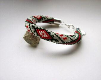 Bracelet - Beaded Crochet Bracelet - Bungle - Green/Red/Cream - Beadwork - Ethnic - Geometric Pattern