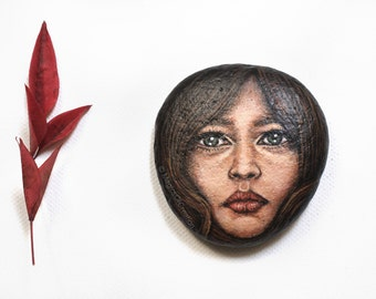 Original painted rock as paper weight or table decor: OOAK acrylic painting on stone, original hand painted fantasy girl portrait stone art