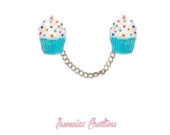 Cupcake Sweater Clips and Brooch Combo