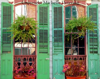 New Orleans Photography - Digital Photography, New Orleans Windows, Door Photography, Green, New Orleans Doors, French Quarter Photography
