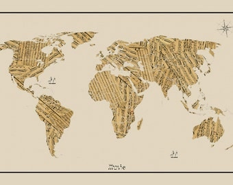 WORLD MAP, Sheet Music Map, World Map, Map of the World, World Map Poster, Large World Map, World Map Print, World Map Art, Map art