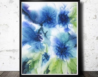 Fine Art Watercolor Print,Giclee Print, Contemporary Floral Watercolor Painting Reproduction,Flower Illustration,Baby Room,8x10 11x14 13x19
