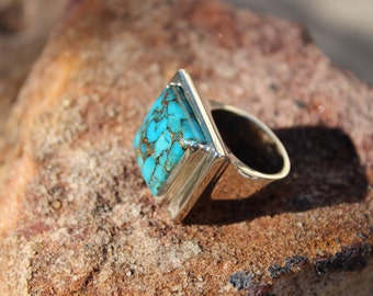 Argentium Silver Ring with Copper Blue Turquoise Natural Stone