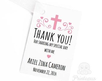 Editable Printable Baptism Favor Tags Baby Girl Pink - DIY Editable Pdf Digital File - Instant Download