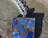 Midnight Sky Gemstone Mosaic Pendant with Lapis Lazuli and Red Aventurine Stars