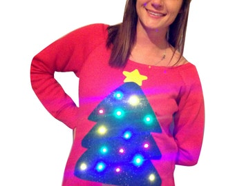 Woman's Ugly Christmas Sweater - Christmas Tree!!! - LIGHTS UP! -  Off The Shoulder - Wide Neck - SALE! __**Fast Shipping**__