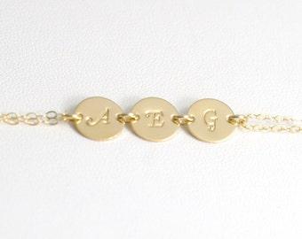 Personalized bracelet, Birthstone bracelet, Initial bracelet, Bridesmaid bracelet, Bridesmaid jewelry, Stamped initial, Mothers bracelet