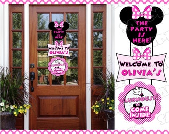 Minnie Mouse door sign large sign with name personalized minnie mouse party printable UPrint customized card by greenmelonstudios