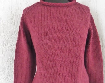 SALE -25 Per Cent (was 155.00 euro)  FREE SHIPPING, Sweater 100% wool, hand knit, warm winter garment