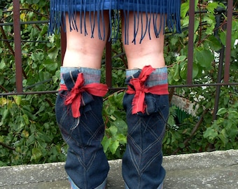 Boot Covers Burning Man Festival Clothing Boho Spats Leg Warmers Hippie Leg Warmers Gaiters Spatterdashes