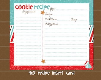 Instant Download! Holiday Cookie Exchange Recipe Card // Cookie Swap Invitation // Cookie Exchange Recipe Card //  Christmas Party // Red