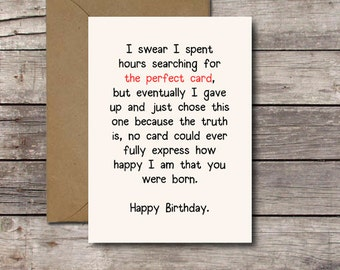 Download THE PERFECT CARD / Romantic Birthday Card / Printable Birthday Card for Him or Her / Happy Birthday Card / Funny Greeting Cards Jpg