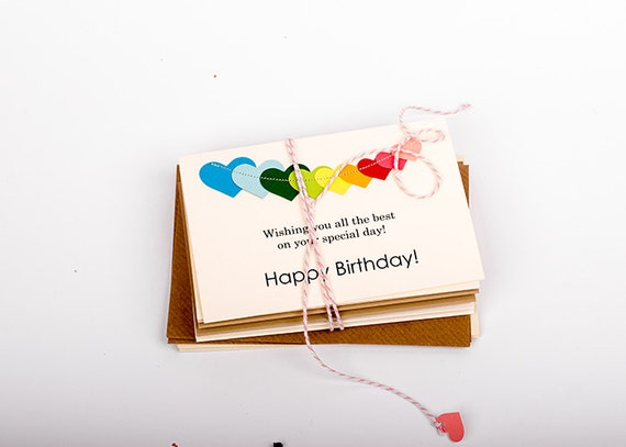Happy Birthday Cards Set with Stitched Colorful Heart Bunting, Greeting Cards, Birthday Card, Signed Inside with your note - SET OF 8