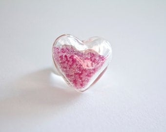 Glass Heart Ring With Pink Micro Beads - Glass Terrarium Ring